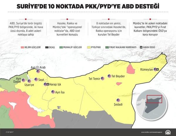 В Турции опубликовали карту американских военных баз в Сирии