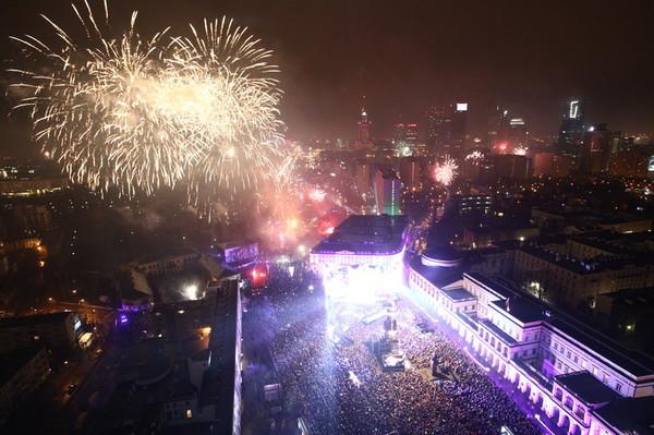 Празднование Нового года в Варшаве в январе 2018 года