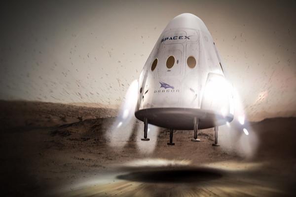 Посадка Red Dragon на Марс глазами художника