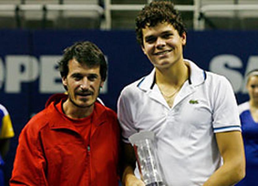 Милош Раонич (справа) и его тренер Гало Бланко, atpworldtour.com
