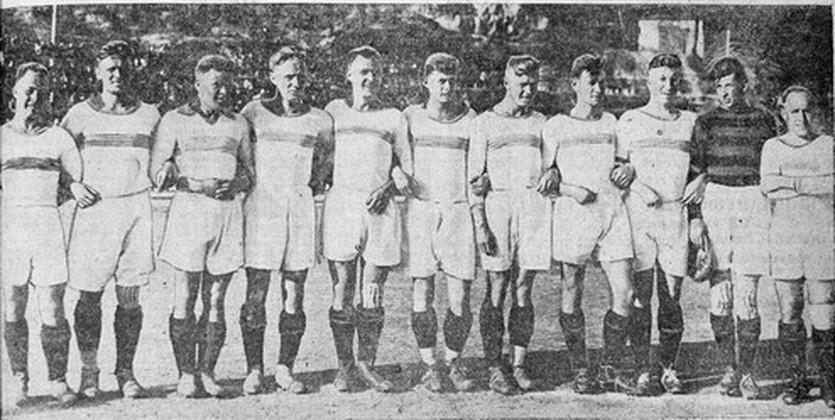 На фото - первый победный состав киевского Динамо