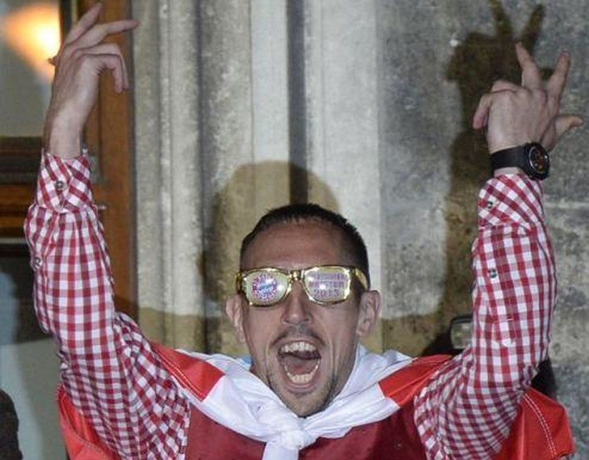 Вот так Рибери праздновал чемпионство в Бундеслиге, Getty Images