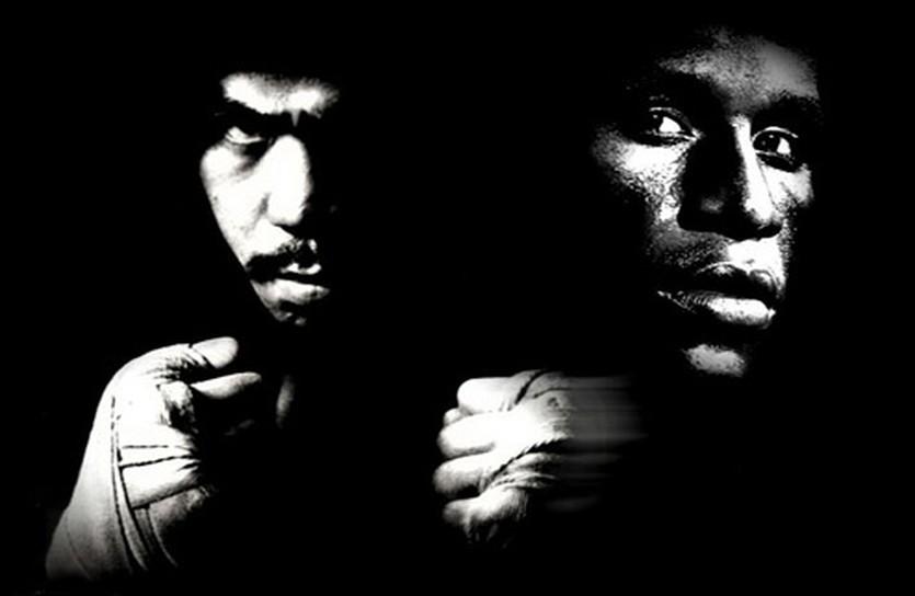 коллаж Паккьяо и Мейвезер, boxingsocialist.com